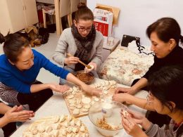 Making Jiaozi with our Homestay families